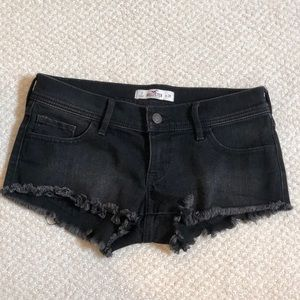 Hollister black denim short shorts